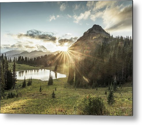Scenics Metal Print featuring the photograph Mt.rainier In Sunset by Chinaface