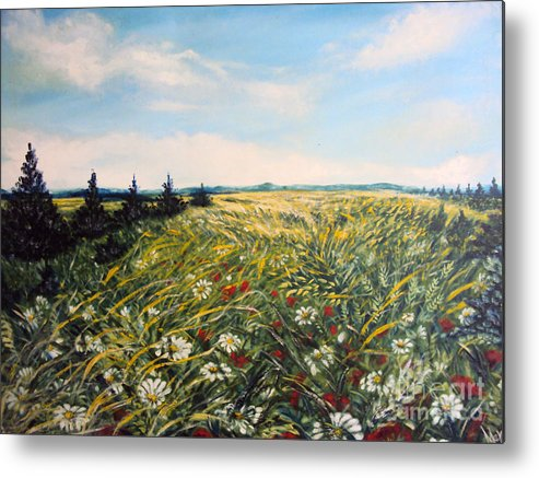 Nature Original Paintings Metal Print featuring the painting Nature Landscape Field Poppies Daises Grass Pines Original Art by Drinka Mercep