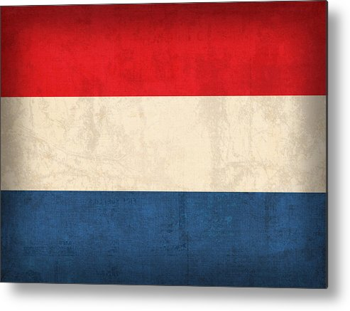 Netherlands Flag Vintage Distressed Finish Holland Europe Country Nation Dutch Metal Print featuring the mixed media Netherlands Flag Vintage Distressed Finish by Design Turnpike