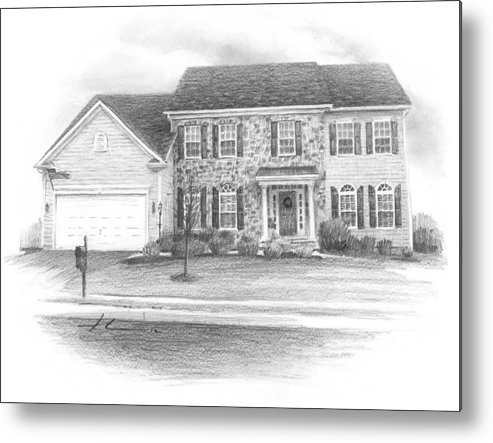 <a Href=http://miketheuer.com Target =_blank>www.miketheuer.com</a> New House Pencil Portrait Metal Print featuring the drawing New House Pencil Portrait by Mike Theuer