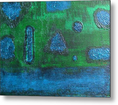 Abstract Metal Print featuring the painting No. 404 by Vijayan Kannampilly