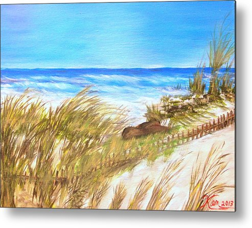 Seascape. Fence Metal Print featuring the painting Ocean Fence by Kenneth LePoidevin