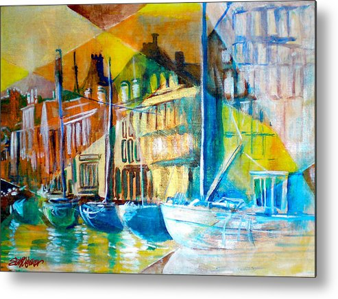 Old World Street Metal Print featuring the painting Old Copenhagen thru Stained Glass by Seth Weaver