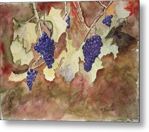 Grapes Metal Print featuring the painting On The Vine by Patricia Novack