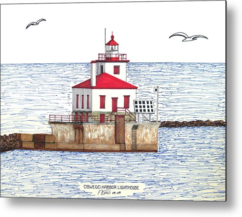 Lighthouse Drawings Metal Print featuring the drawing Oswego Harbor Lighthouse by Frederic Kohli