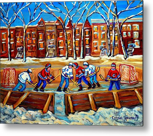 Montreal Metal Print featuring the painting Outdoor Hockey Rink Winter Landscape Canadian Art Montreal Scenes Carole Spandau by Carole Spandau