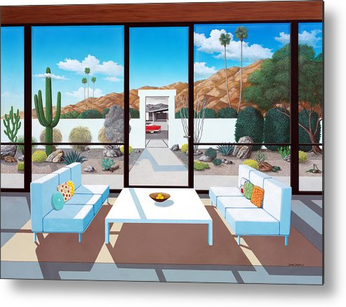 Mid Century Modern Metal Print featuring the painting Outside and Beyond by Snake Jagger