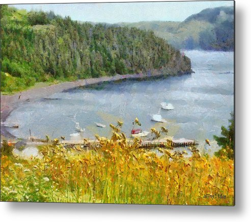 Canadian Metal Print featuring the painting Overlooking the Harbor by Jeffrey Kolker