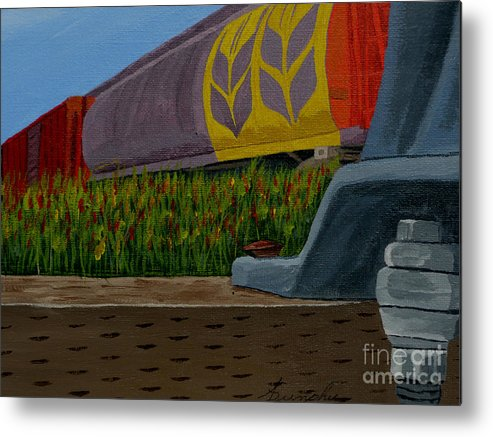 Train Metal Print featuring the painting Passing the wild ones by Anthony Dunphy