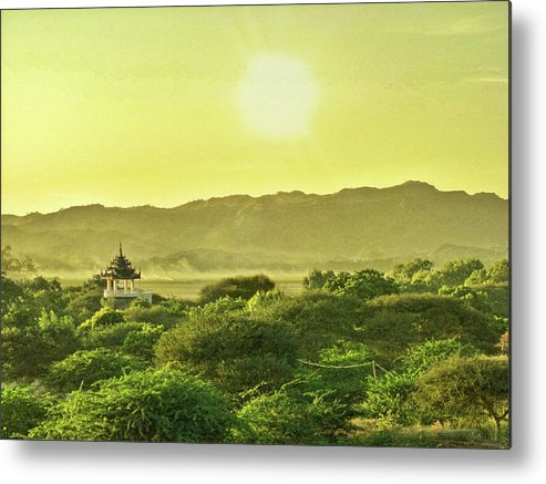 Tranquility Metal Print featuring the photograph Pavillion Under The Hill During Sunset by Rosita So Image