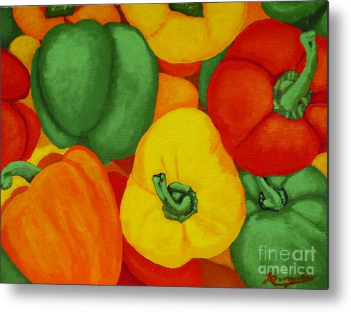 Peppers Metal Print featuring the painting Peppers by Anthony Dunphy