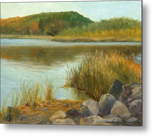 Landscape Metal Print featuring the painting Piermont Shoreline by Phyllis Tarlow