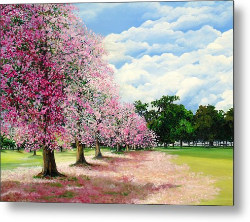 Pink Poui Trees Metal Print featuring the painting Pink Savannah Poui by Karin Dawn Kelshall- Best