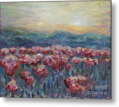 Poppies Metal Print featuring the painting Poppies at Sunset by Nadine Rippelmeyer