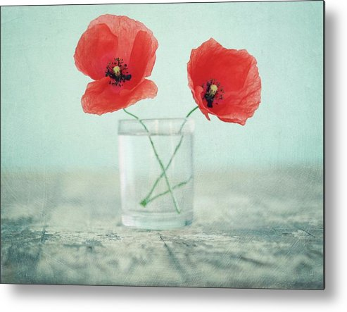 Bulgaria Metal Print featuring the photograph Poppies In A Glass, Still Life by By Julie Mcinnes