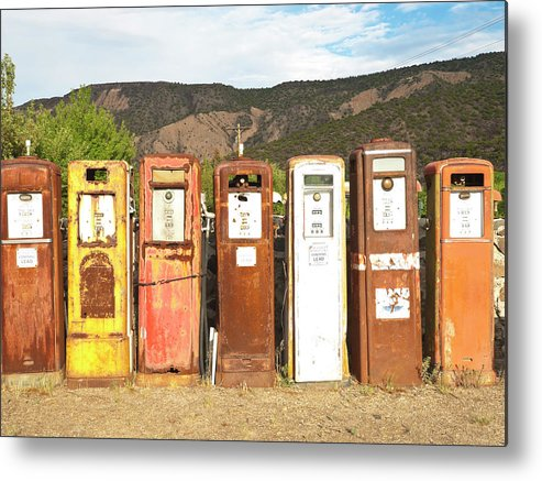Home Decor Metal Print featuring the photograph Retro Gas Pumps In Outdoor Museum Nm by Helovi