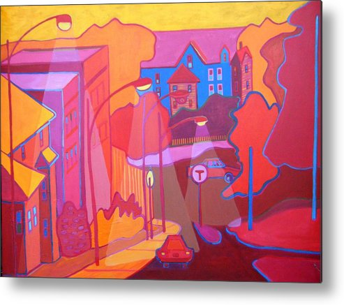 Cityscape Metal Print featuring the painting Roslindale Never Looked so Red by Debra Bretton Robinson
