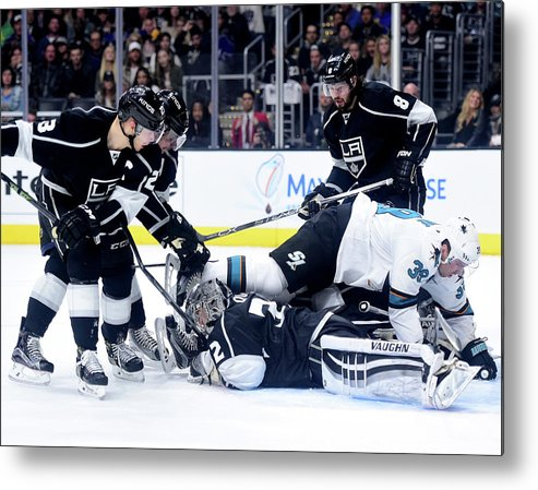 Playoffs Metal Print featuring the photograph San Jose Sharks V Los Angeles Kings - by Harry How