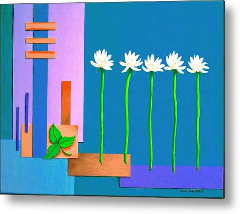Abstract Metal Print featuring the painting Shasta Daisy Over Abstract II by Carol Sabo