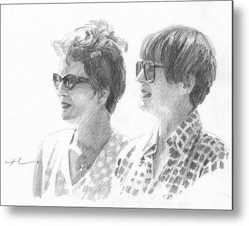<a Href=http://miketheuer.com Target =_blank>www.miketheuer.com</a> Sisters With Sunglasses Pencil Portrait Metal Print featuring the drawing Sisters With Sunglasses Pencil Portrait by Mike Theuer