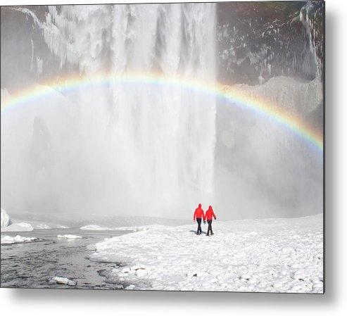 Scenics Metal Print featuring the photograph Skogafoss Waterfall, Iceland by Travelpix Ltd