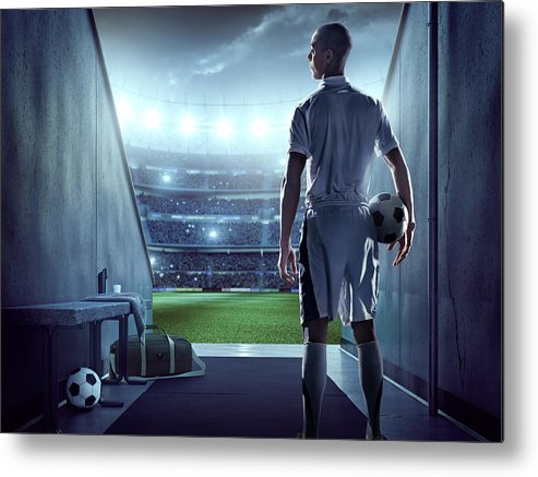 Event Metal Print featuring the photograph Soccer Player In Players Zone Of A by Dmytro Aksonov