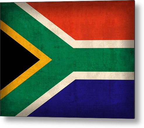 South Africa Flag Vintage Distressed Finish Metal Print featuring the mixed media South Africa Flag Vintage Distressed Finish by Design Turnpike