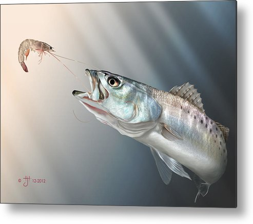 Shrimp Metal Print featuring the painting Speck Snack by Hayden Hammond
