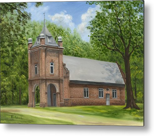 Historic Church Metal Print featuring the painting St. Peter's Church by Anne Kushnick