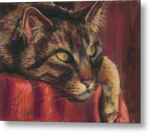 Tabby Cat Metal Print featuring the painting Tabby Nap by Billie Colson