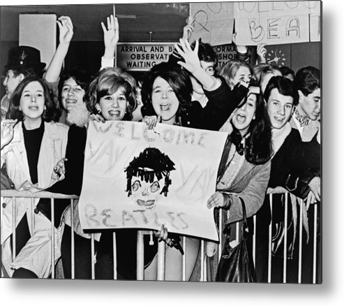 16-20 Years Metal Print featuring the photograph Teenagers Welcome The Beatles by Underwood Archives