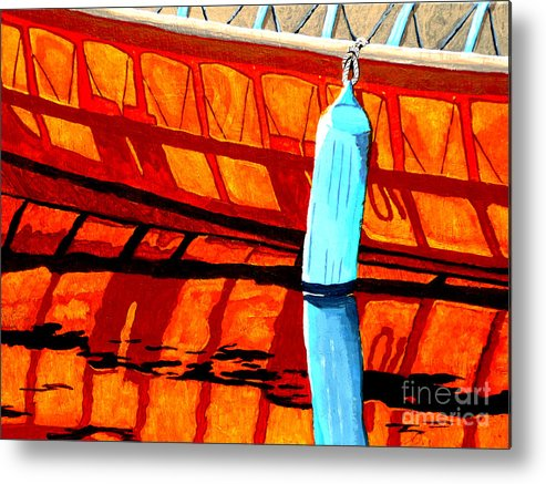 Canoe Metal Print featuring the painting The Blue Fender by Anthony Dunphy