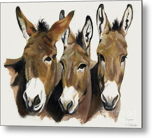 Donkeys Metal Print featuring the painting The Brothers Three by Suzanne Schaefer
