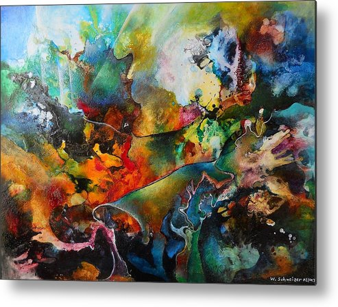 Forest Metal Print featuring the painting The Forest by Wolfgang Schweizer