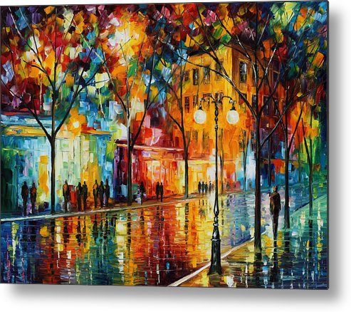 Leonid Afremov Metal Print featuring the painting The Tears Of The Fall - Palette Knife Oil Painting On Canvas By Leonid Afremov by Leonid Afremov
