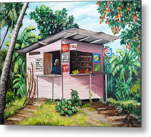 Shop Painting Metal Print featuring the painting Trini Roti Shop by Karin Dawn Kelshall- Best