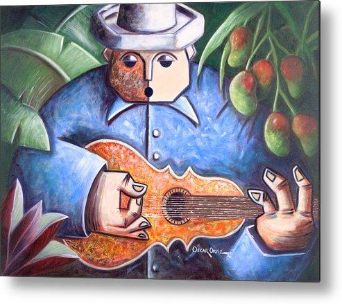 Puerto Rico Metal Print featuring the painting Trovador de mango bajito by Oscar Ortiz