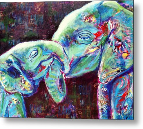 Elephants Metal Print featuring the painting Tangled Bliss by Goddess Rockstar