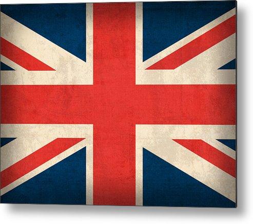 United Kingdom Union Jack England Britain Flag Vintage Distressed Finish London English Europe Uk Country Nation British Metal Print featuring the mixed media United Kingdom Union Jack England Britain Flag Vintage Distressed Finish by Design Turnpike