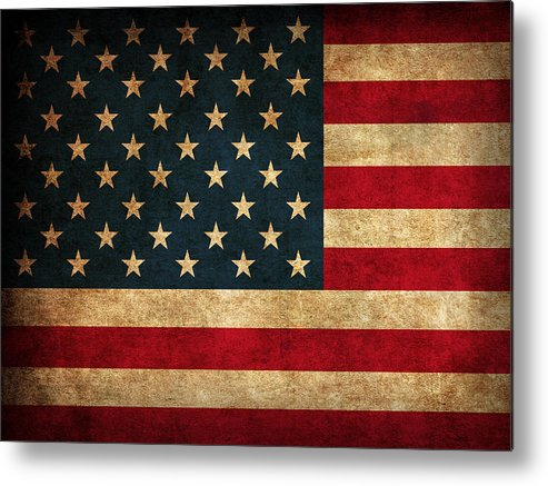 United States American Usa Flag Vintage Distressed Finish On Worn Canvas Metal Print featuring the mixed media United States American USA Flag Vintage Distressed Finish on Worn Canvas by Design Turnpike