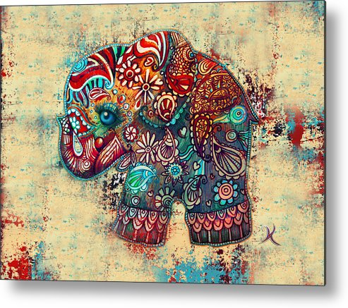Elephant Mask Metal Print featuring the painting Vintage Elephant by Karin Taylor