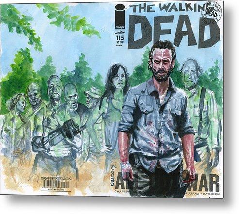 Walking Dead Metal Print featuring the painting Walking Dead Ghosts by Ken Meyer jr