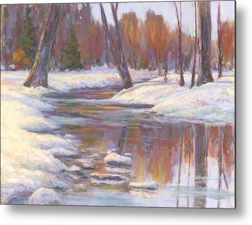 Snow And Stream Metal Print featuring the painting Warm Winter Reflections by Billie Colson