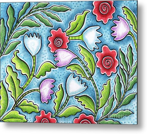Leafy Metal Print featuring the painting Wild Flowers by Elaine Jackson