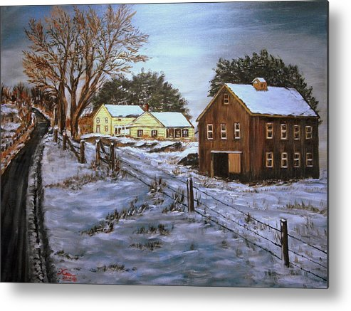 Landscape Metal Print featuring the painting Winter Home and Barn by Kenneth LePoidevin
