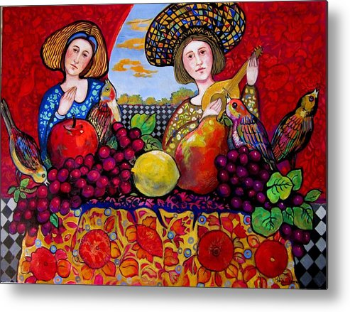 Music Metal Print featuring the painting Women fruit and music by Marilene Sawaf