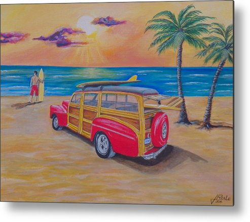 Seascape Metal Print featuring the painting Woody on the beach by Jim Reale