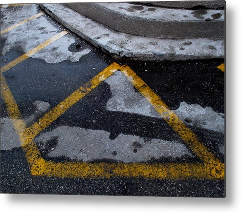 Abstract Metal Print featuring the photograph Yellow Lines 2 by Lyle Crump