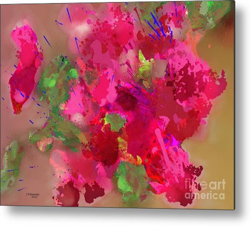 Abstract Metal Print featuring the painting Abstract Bougainvillea Painting Floral Wall Art by Judy Filarecki