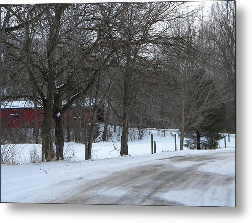Snow Metal Print featuring the photograph Baker's Camp Covered Bridge by Helen ONeal